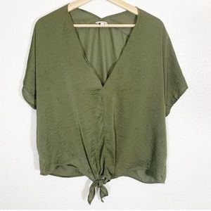 Lucky Brand l Olive Green Tie Front Shirt